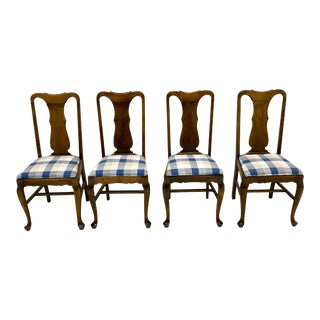 Vintage English Queen Anne Style Dining Chairs - S/4 For Sale