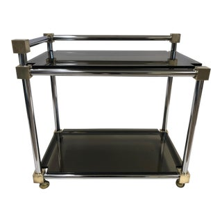 Mid Century Modern Two-Tier Brass, Chrome and Smoked Glass Bar Cart