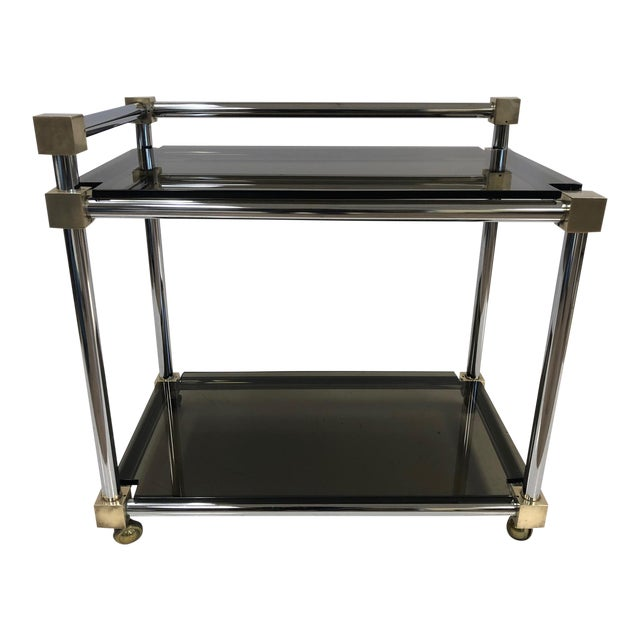 Mid-Century Modern Two-Tier Brass, Chrome and Smoked Glass Bar Cart For Sale