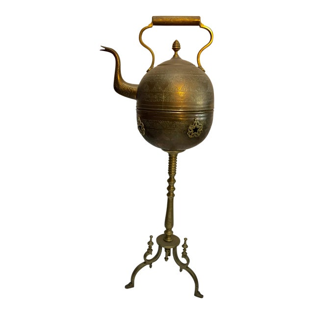 Moroccan Antique Brass Tea Kettle Pot on Stand For Sale