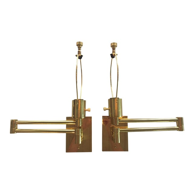 Classic Brass Hansen Wall Sconces - a Pair For Sale