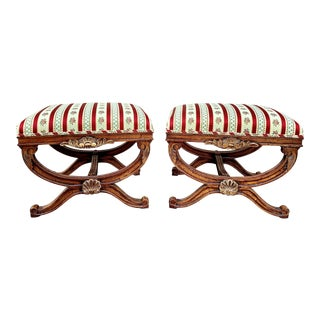 Baker Regency Style Upholstered Curule Benches - a Pair For Sale