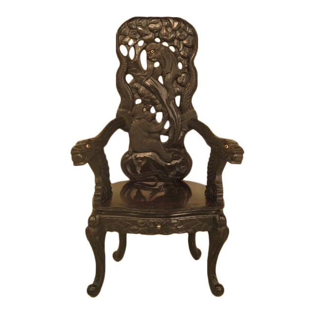 Antique Chinese Monkey Carved Highback Chair For Sale - Antique Chinese Monkey Carved Highback Chair Chairish