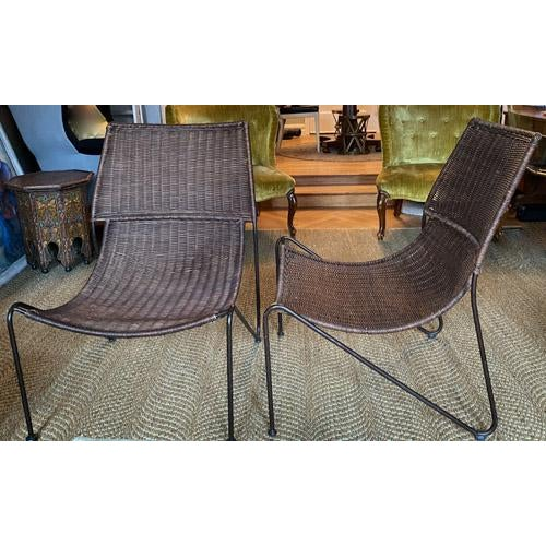 Frederick Weinberg Scoop Form Rattan Lounge Chairs in the Manner of Frederick Weinberg - a Pair For Sale - Image 4 of 10