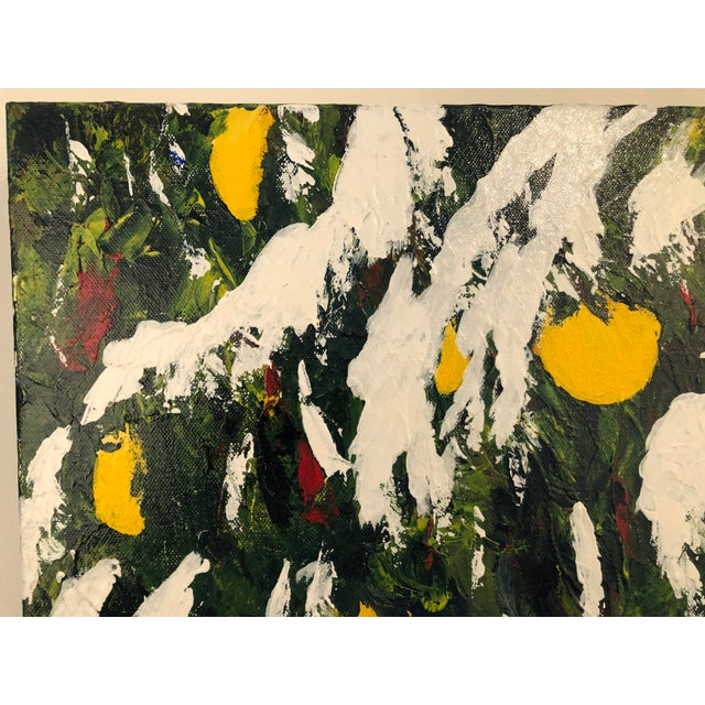 1990s Meyer Lemons in the Snow Acrylic on Stretched Canvas Signed by Artist Framed Green Yellow White For Sale - Image 5 of 11