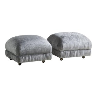 "A Pair of ""Souffle"" Style Ottomans on Casters For Sale"
