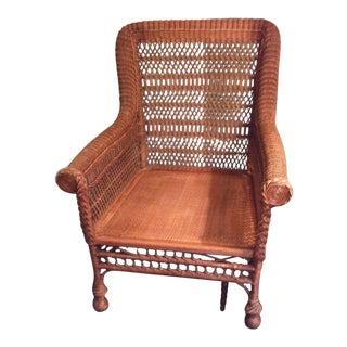 Victorian Wicker Arm Chair For Sale