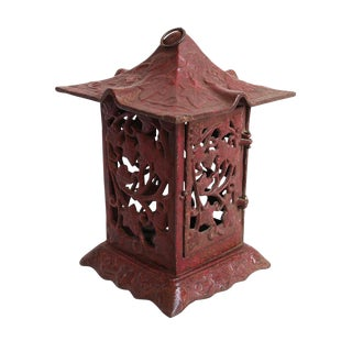 Cast Iron Red Garden Lantern For Sale