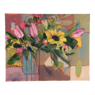 Abstract Expressionist Still Life Flower Painting For Sale