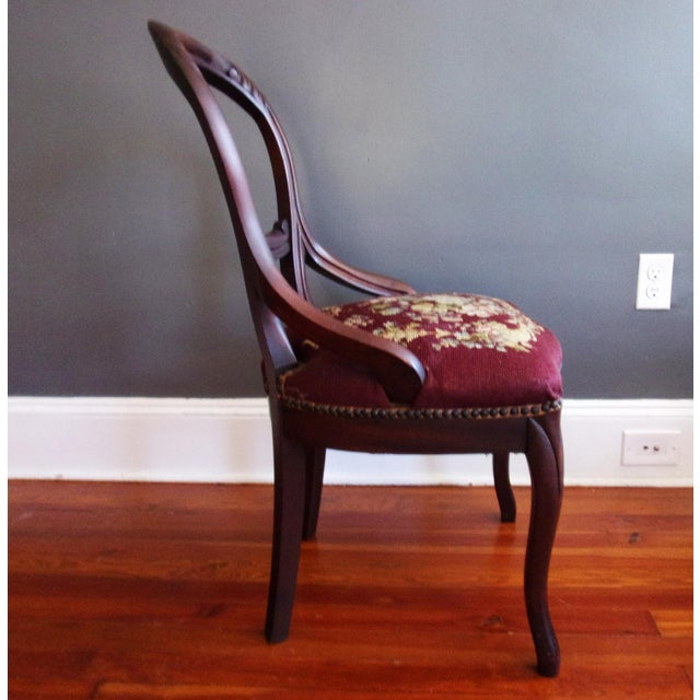 Late 19th Century Victorian Carved Mahogany Balloon Back Chair For Sale - Image 4 of 9
