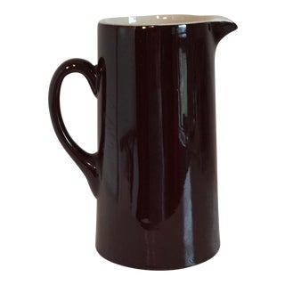 Mid-Century Hall Pottery Restaurant Ware Chocolate Brown Pitcher