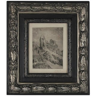 Abstracted Landscape Original Vienna Secessionist Signed Etching, 1920s For Sale