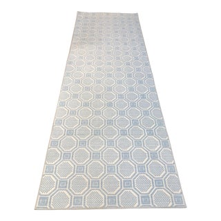 """Stark Contemporary Blue & White Runner Rug - 3'1"""" x 9'"""