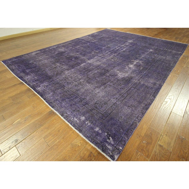 """Purple Overdyed Wool Rug - 9' 7"""" x 12' 9"""" - Image 2 of 10"""