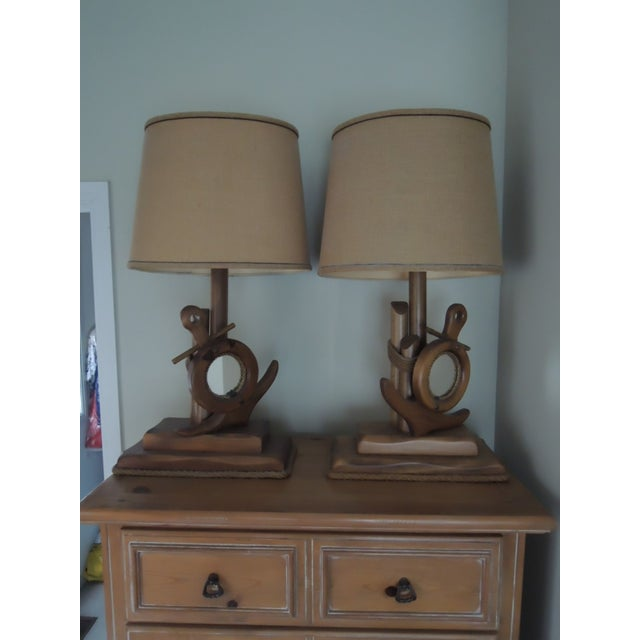 Nautical Hand Crafted Pine Wood Lamps - A Pair For Sale - Image 13 of 13