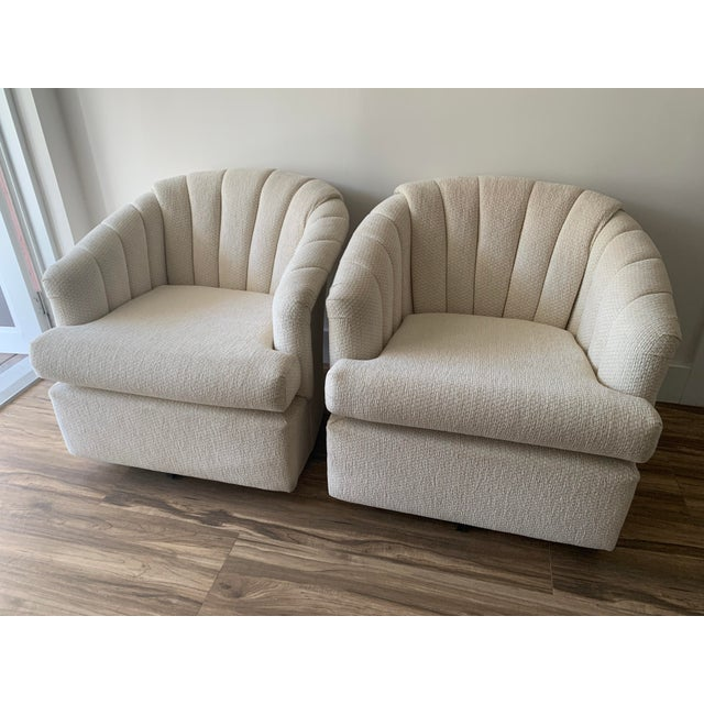 Art Deco Channel Back Club Chairs in the Manner of Kagan - a Pair For Sale - Image 3 of 13