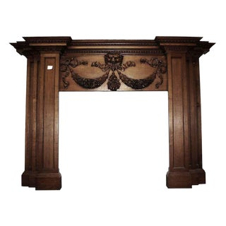 Mid 19th Century Antique English Regency Style Oak Mantel For Sale