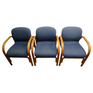 Midcentury Chairs Upholstered in Nubbly Fabric on Hardwood Frames, Set of 3 For Sale