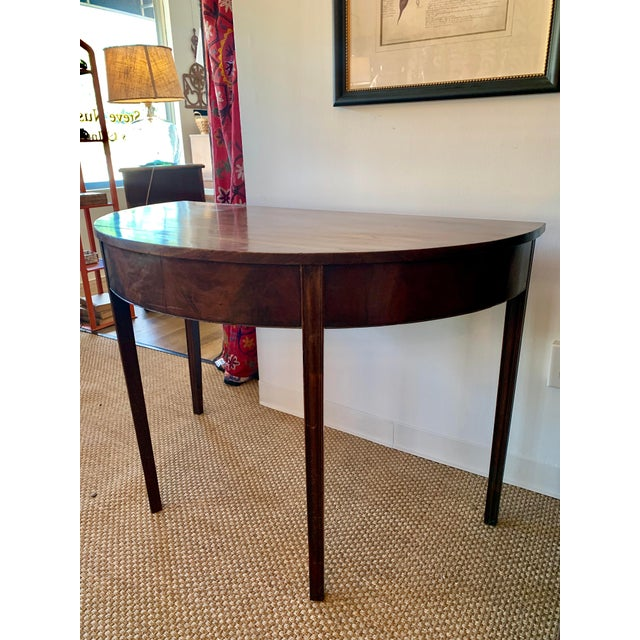 Antique Traditional Walnut Demi-Lune Table For Sale In Kansas City - Image 6 of 9