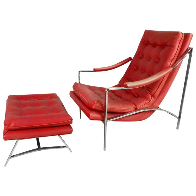 Vintage Mid-Century Tufted Armchair and Ottoman - Image 1 of 7