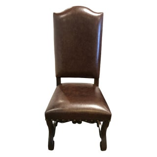 Traditional Louis French Country Leather Dining Chair With Arched High Top Back For Sale