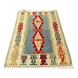 "Mid-Century Anatolian Hand Woven Kilim Rug -4'1""x5'4""-Blue Red Creme Gold Colorful Rug-Medallion Rug-Small Area Rug-Bohemian Accent Rug For Sale"