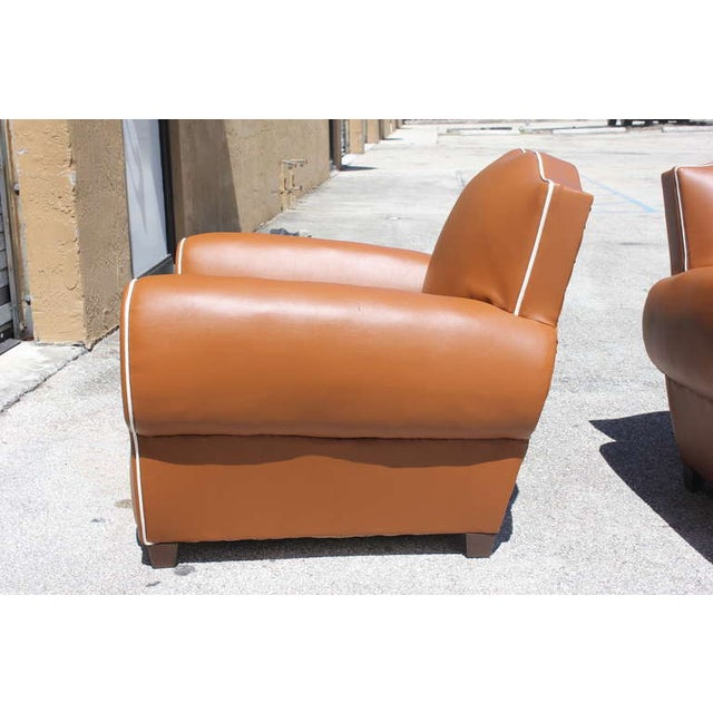French Art Deco Vinyl Club Chairs - A Pair - Image 7 of 7