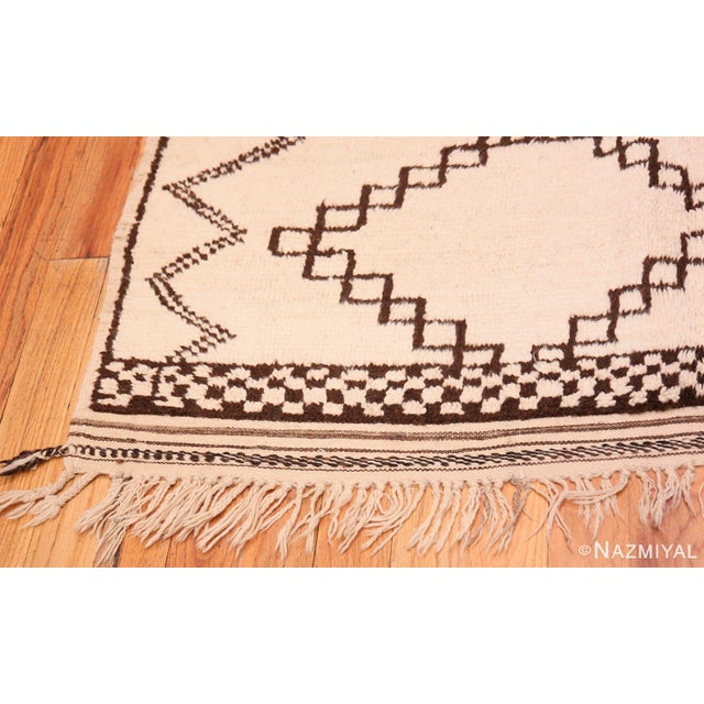 Boho Chic Vintage Moroccan Ivory and Brown Rug - 4′6″ × 7′ For Sale - Image 3 of 7