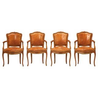 Louis XV Style Armchairs in Original Leather - Set of 4 For Sale