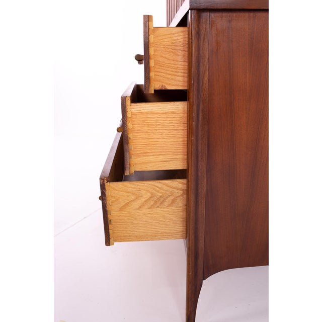 Mid Century Kent Coffey Perspecta Walnut and Rosewood Armoire Gentleman's Chest Highboy Dresser For Sale - Image 10 of 13