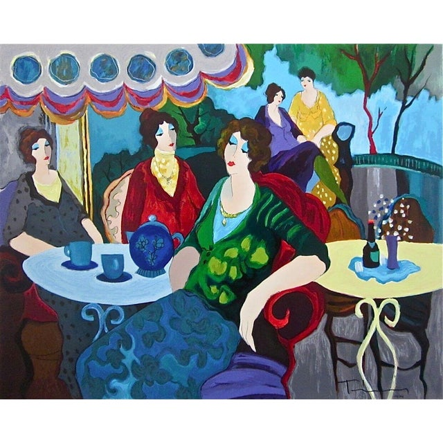 Impressionist Itzchak Tarkay Morning Tea Circa 2000 For Sale - Image 3 of 3