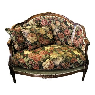 French Loveseat With Carved Wood Frame For Sale