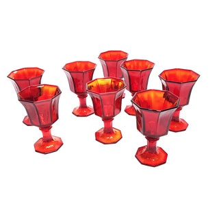 Vintage Independence Glassware Company Ruby Red Amberina Glass Goblets- Set of 8