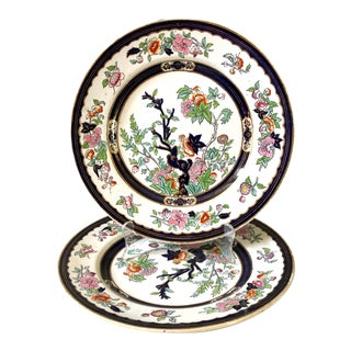 Antique Minton Vesper Pattern Dinner Plates, Pair For Sale