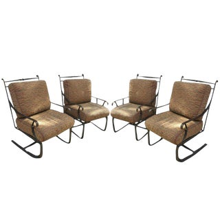 Hand Forged Wrought Iron Lounge Style Chairs - Set of 4