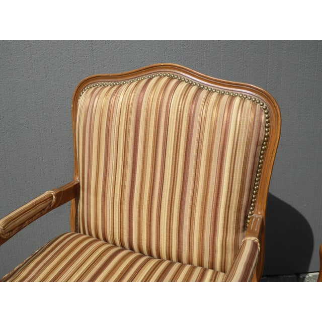 Vintage French Country Brown Stripped Accent Chairs With Down Cushions - a Pair For Sale - Image 5 of 12
