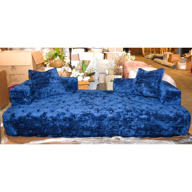 Contemporary Contemporary Crushed Blue Velvet Tufted Sofa For Sale - Image 3 of 3