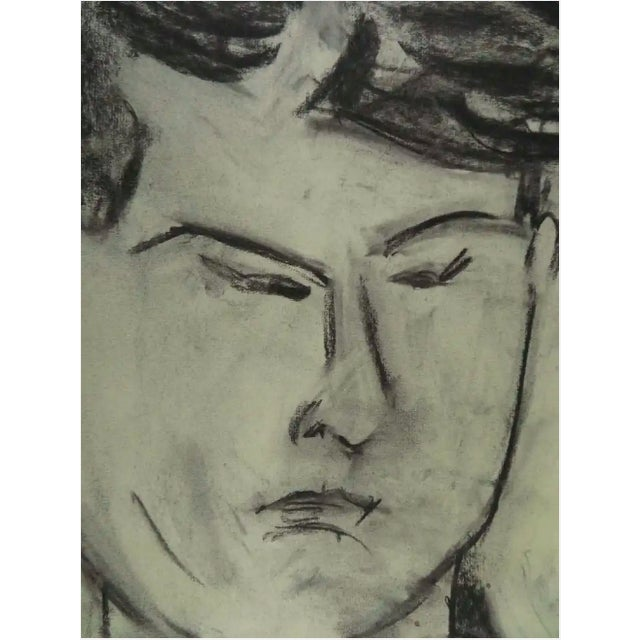 1950s Modernist Portrait of a Man Charcoal Drawing For Sale - Image 5 of 8