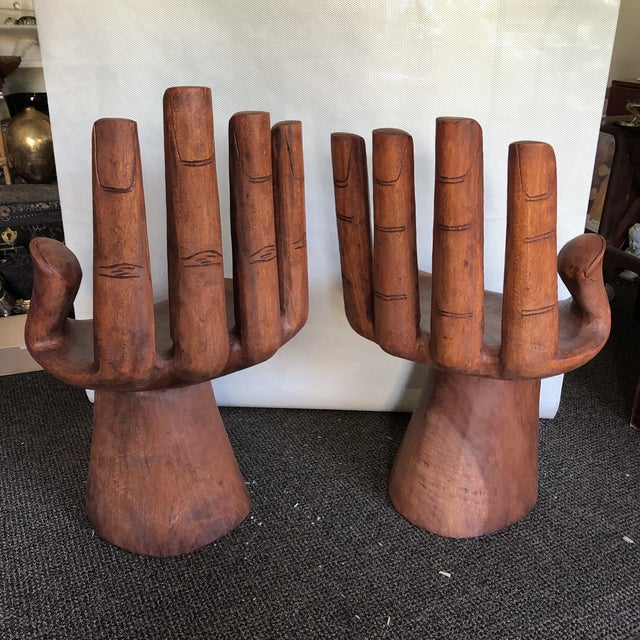 Wooden Pedro Friedeberg Style Hand Chairs- a Pair For Sale In Atlanta - Image 6 of 9