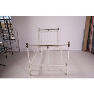 1910s Shabby Chic White Iron Victorian Bedframe Preview