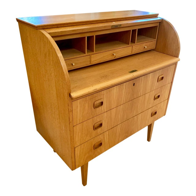1960s Swedish Modern Teak Rolltop Desk For Sale