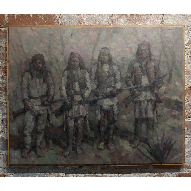 Black Stevan Kissel - Group of Apache Renegades - Oil Painting For Sale - Image 8 of 8