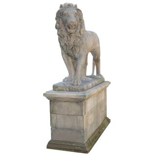Massive Standing Entry Lions In Hand Carved Limestone