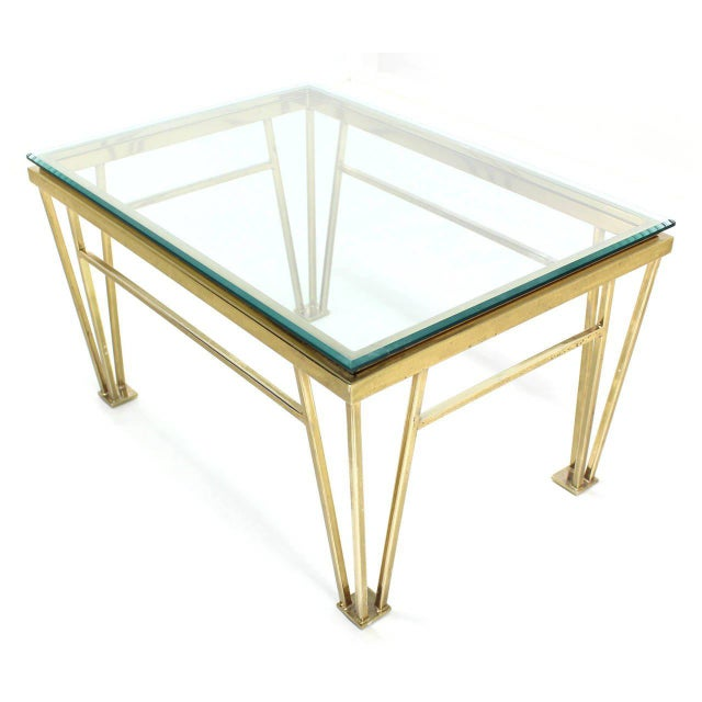 Mid-Century Modern Geometric Frame Rectangular Brass Side Table w/ Glass Top For Sale - Image 3 of 6
