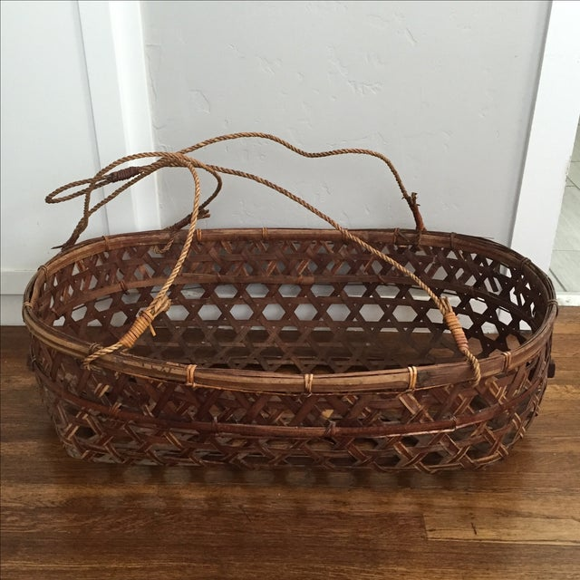 Large Vintage Wicker Bassinet With Rope Handles - Image 2 of 5