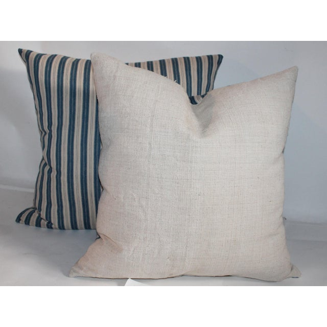 Striped Ticking Pillows - A Pair For Sale - Image 4 of 6