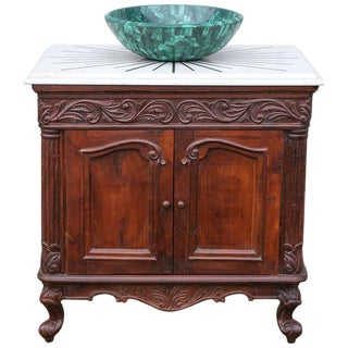Late 20th Century Custom Made Modern Malachite Sink Teak Wood Vanity For Sale