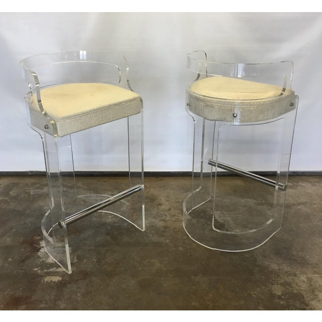 Vintage Lucite Bar Stools by Charles Hollis Jones for Hill Mfg. For Sale - Image 10 of 10