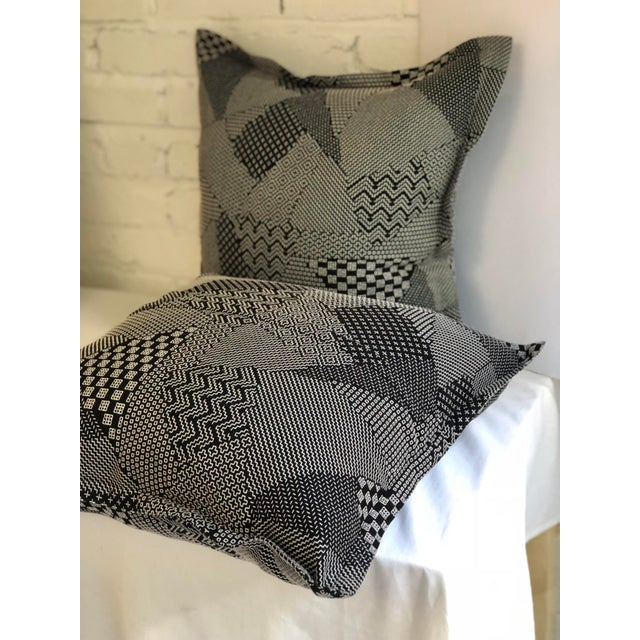 """Black Pair of 20"""" Square Black and White Stitched Patchwork Pillows by Jim Thompson For Sale - Image 8 of 11"""