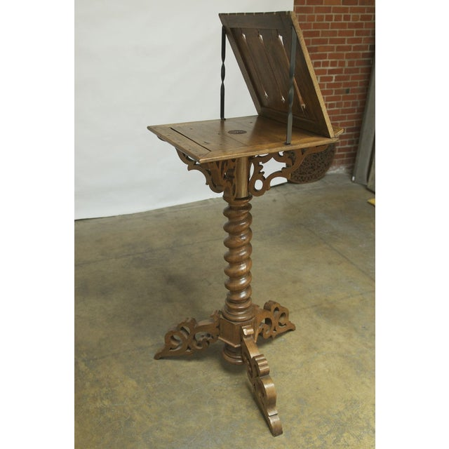 Monumental Italian Carved Oak Lectern Book Stand - Image 7 of 7